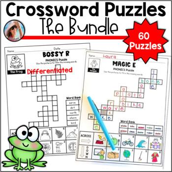 Phonics Crossword Puzzles Bundle