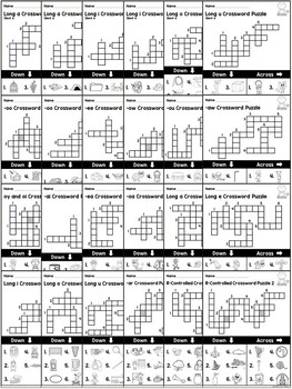 Phonics Crossword Puzzles ~ Long Vowels and Vowel Digraphs