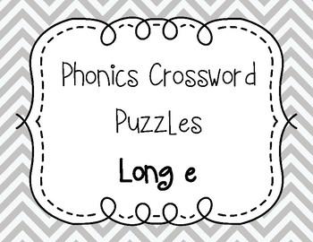 Phonics Crossword Puzzles - Long e
