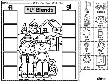 "Phonics Cut & Paste Printables ""L"" Blends {Winter}"