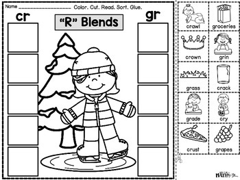 "Phonics Cut & Paste Printables ""R"" Blends {Winter}"