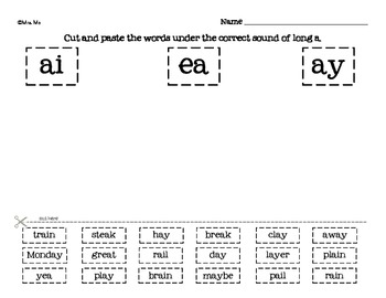 Phonics Cut and Paste [Word Work Sorts - pack #1]