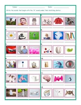 Phonics D Sound Photo Worksheet