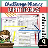 Challenge Phonics Worksheets Vowel DIPHTHONGS | Vowel team