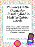 Phonics Data/ Progress Monitoring Sheets: Closed Multisyllabic Words