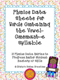 Phonics Data/ Progress Monitoring Sheets: Vowel-Consonant-e Syllable
