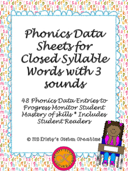 Phonics Data/ Progress Monitoring Sheets: Closed Syllable Words with 3 sounds