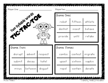 Phonics: Detached Syllables & 2 Syllable Words Activities
