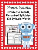 Phonics Builders: Detached Syllables & 2 Syllable Words Activities