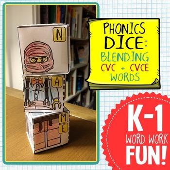 Phonics Dice-- Blending CVC, CVCe, CVVC Words