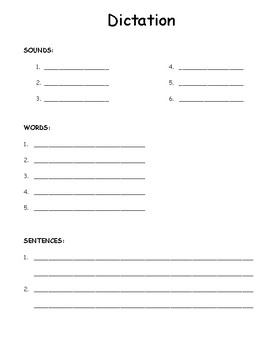 Phonics Dictation Page