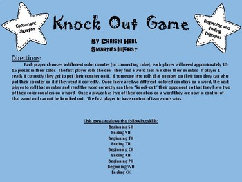 Phonics Digraph Knockout/Bump game for Literacy Centers (sh, th, ch, wh, ph, ck)
