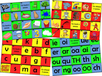 Phonics & Digraph Board Games (Jolly Phonics Phase 1,2,3,4,5,6)