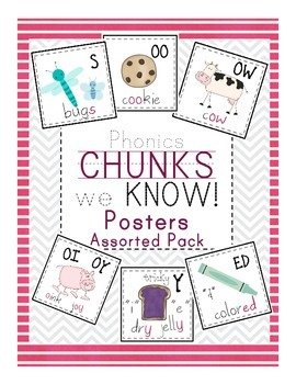 Phonics Chunk Cards -  Digraphs and Assorted Patterns for Primary Readers