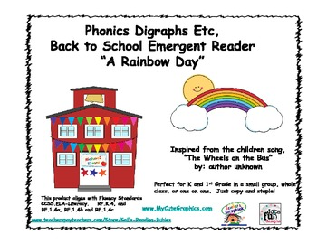 "Phonics Digraphs Etc, Back to School Emergent Reader ""A Rainbow Day"""