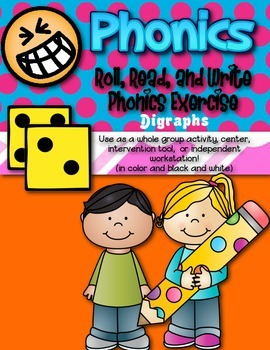 Phonics (Digraphs) Roll, Read, and Write Activity ~ Free!