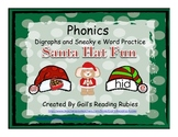 Phonics Digraphs and Sneaky e Word Practice Santa Hat Fun