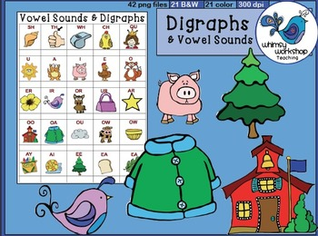 Phonics Digraphs and Vowel Sounds (Single Graphics) Whimsy
