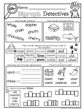 Phonics: Digraphs, no prep worksheets (detective theme)