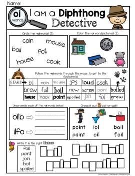 Phonics: Diphthongs, no prep worksheets (detective theme)