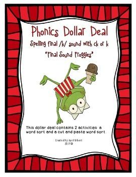 Phonics Dollar Deal #13: Final Sound Froggies
