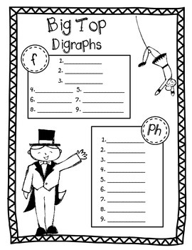 Phonics Dollar Deal #15: Big Top Digraphs