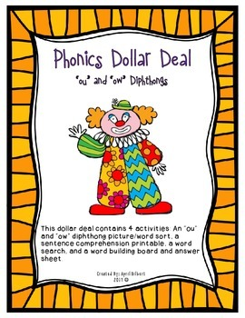 "Phonics Dollar Deal #19: Words with ""ou"" and ""ow"" Diphthongs"