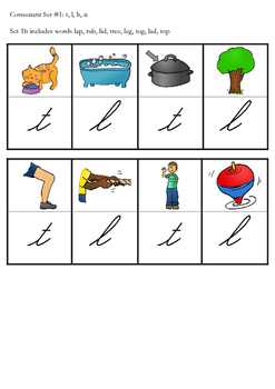 Phonics Dominoes Game Set 1 and 2 Cursive Version