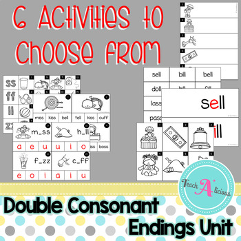 Double consonant ending word work activities