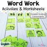 Word Work Stations - Easy to set up for Double Consonant Endings