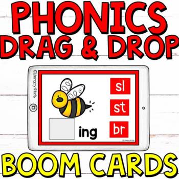 Phonics Drag and Drop Boom Cards (Digital Task Cards) Set 1 for Grades 1-2