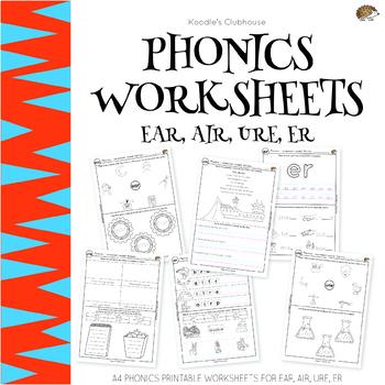 Phonics Ear Air Ure Er Worksheets By Koodlesch Tpt