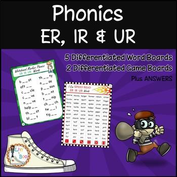 Phonics - ER IR UR Wordboards & Game