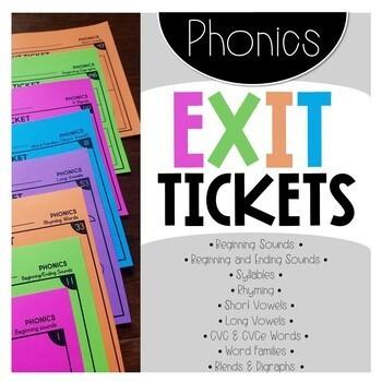 Phonics EXIT TICKETS