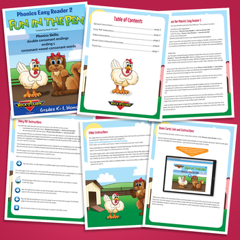 Phonics Easy Reader 2 - Interactive, Printable, and Video