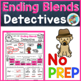 Phonics: Ending Blends, no prep worksheets (detective theme)