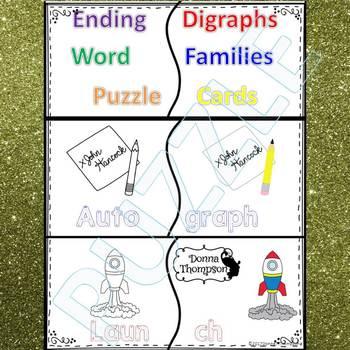 "Phonics ""Ending Digraphs"" (Puzzle Cards)"