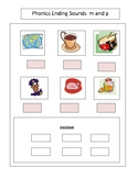Reading--Phonics --Ending letter sound Worksheet m and p f