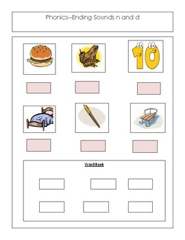 Reading --  Phonics --Ending Sounds n and d---For The Non-Writer