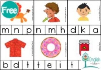 Phonics 'Ending sound' clipcards activity (sample)