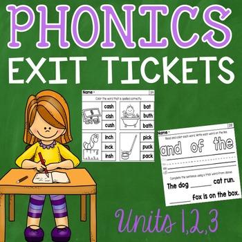 Phonics Exit Tickets Units 1 - 3