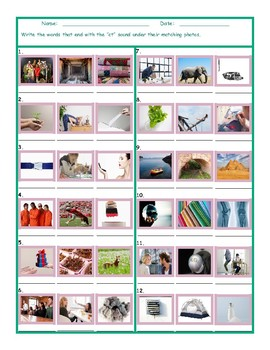 Phonics Final Consonant Cluster CT Photo Worksheet