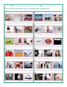 Phonics Final Consonant Cluster PT Photo Worksheet