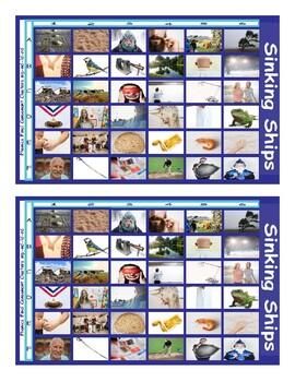 Phonics Final Consonant Clusters mp-nd-ld-rd Photo Battleship Game