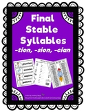 Phonics Final Stable Syllables tion  sion  cian