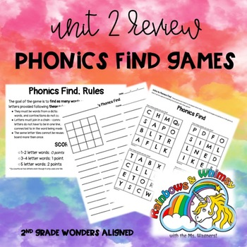 Phonics Find - Review of Unit 2 (Wonders 2.6 - Unit 2 Week 6)