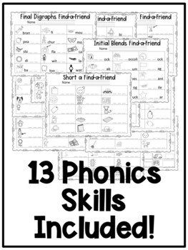 First Grade Phonics: Find a Friend Activities