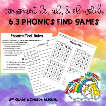 Phonics Find for Consonant + le, el, al (aligned to Wonders 6.3 - Unit 6 Week 3)