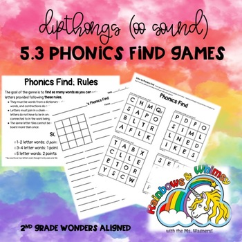 Phonics Find for Dipthongs -oo Sound (aligned to Wonders 5.3 - Unit 5 Week 3)