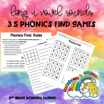 Phonics Find for Long U Sounds (aligned to Wonders 3.5 - Unit 3 Week 5)